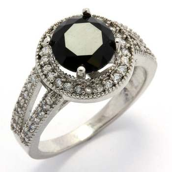 Fine Jewelry Brass with White Gold Overlay, 2.29ctw  White & Black Sapphire Ring Size 7