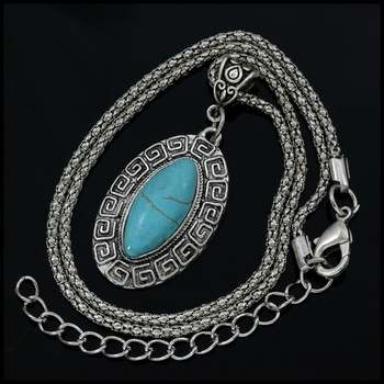 Fine Jewelry Brass with White Gold Overlay, 23x11mm  Pressed Turquoise Oval Shape Necklace