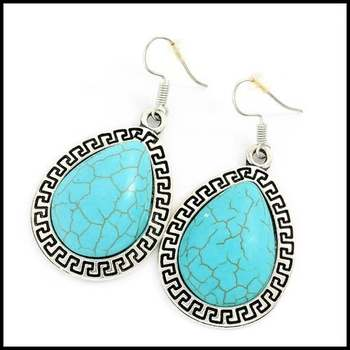 Fine Jewelry Brass with White Gold Overlay,  24x18mm Pressed Turquoise Pear Shape Earrings