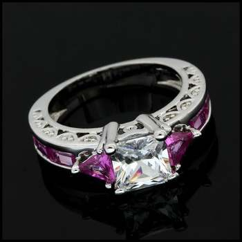 Fine Jewelry Brass with White Gold Overlay, 3.5ctw White & Pink Topaz Ring Size 6