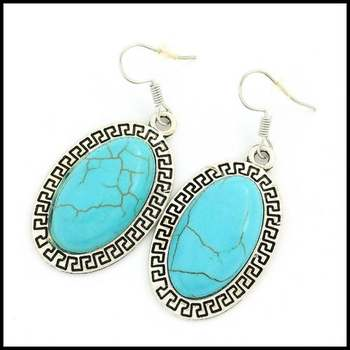 Fine Jewelry Brass with White Gold Overlay Pressed Turquoise Earrings