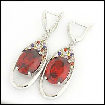 Fine Jewelry Brass with  White Gold Overlay Ruby & Multicolor Gemstones Earrings