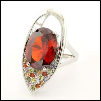 Fine Jewelry Brass with  White Gold Overlay Ruby & Multicolor Gemstones Ring Size 7