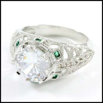 Fine Jewelry Brass with White Gold Overlay, White Sapphire & Emerald Ring Size 6