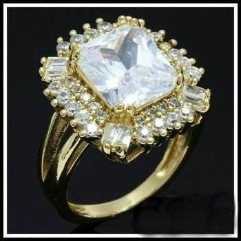 Fine Jewelry Brass with White Gold Overlay White Topaz Ring Size 8