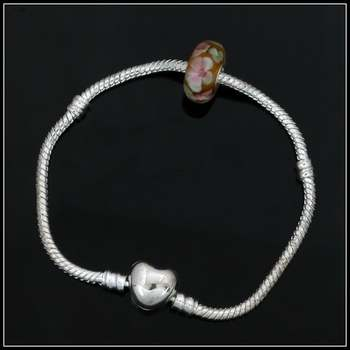 Fine Jewelry Brass with White Gold Plated Rose Charm Bracelet