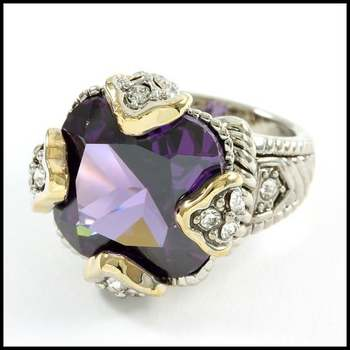 Fine Jewelry Brass with White&Yellow Gold Overlay, Amethyst & White Sapphire Ring Size 7