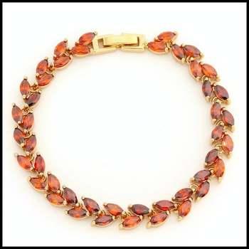 Fine Jewelry Brass with  Yellow Gold Overlay Garnet Tennis Bracelet