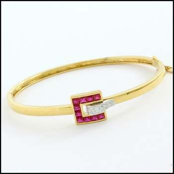 Fine Jewelry Brass with  Yellow&White Gold Overlay Ruby & White Sapphire Bracelet