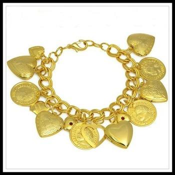 France Coin Treasures Heart Charm Ruby Bracelet