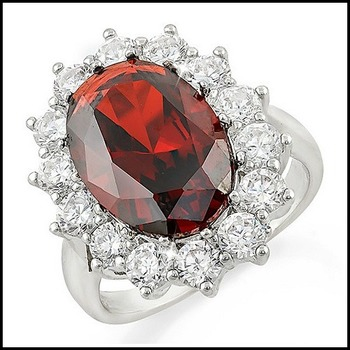 Garnet and White Sapphire Ring Size 7