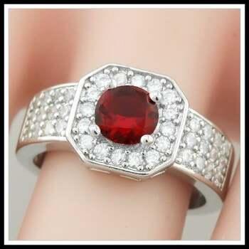Garnet & White Sapphire Ring Size 7