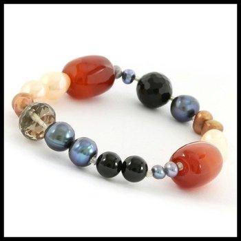 Genuine Agate, Black Onyx & Freshwater Pearl Stretch Bracelet