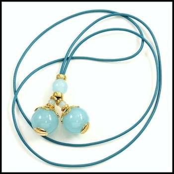 """Genuine Aquamarine Color Quartz Blue Cord 35"""" Long Designer Necklace"""