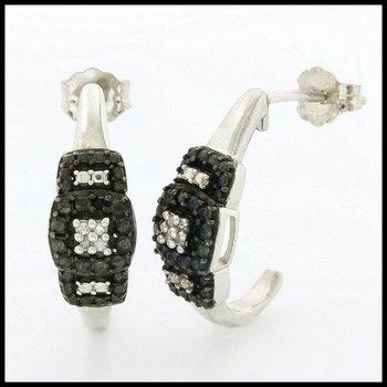 Genuine Diamond .925 Sterling Silver Hoop Earrings