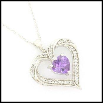 Genuine Diamond & Genuine Amethyst .925 Sterling Silver Necklace