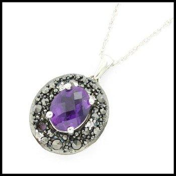 Genuine Diamond, Genuine Amethyst & Genuine Black Sapphire .925 Sterling Silver Necklace