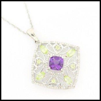 Genuine Diamond, Genuine Amethyst & Genuine Peridot .925 Sterling Silver Necklace
