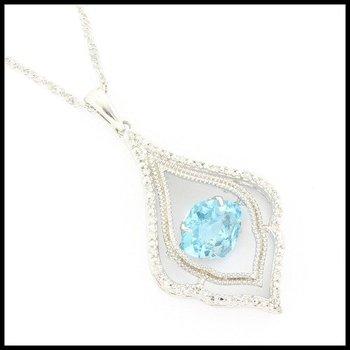 Genuine Diamond & Genuine Dancing Blue Topaz .925 Sterling Silver Necklace