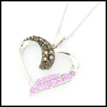 Genuine Diamond & Genuine Dancing Pink Topaz .925 Sterling Silver Necklace