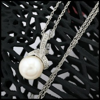 Genuine Diamond & Pearl .925 Sterling Silver Necklace