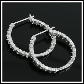 Genuine Diamonds, Solid .925 Sterling Silver & 18k White Gold Overlay Hoop Earrings