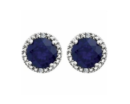 Genuine Dyed Sapphire with Diamond Accent .925 Solid Sterling Silver Stud Earrings