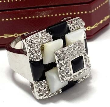 Genuine Mother of Pearl & Black Onyx & 0.35ctw White Diamonique Ring Size 7