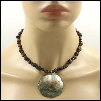 Genuine Smokey Quartz with Mother of Pearl Pendant Necklace