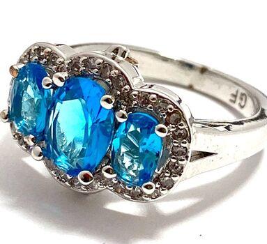 Gold Filled 3.75ctw Sky Blue & White Topaz Ring Size 7