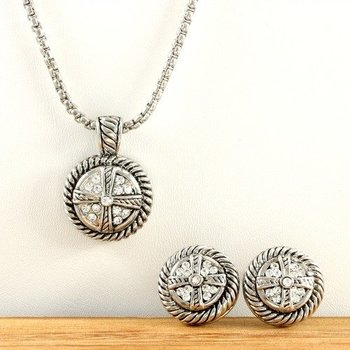 Gold Over High End Jewelry Alloy with 7.50ctw Beautifully Created White Sapphire Necklace and Earrings Set