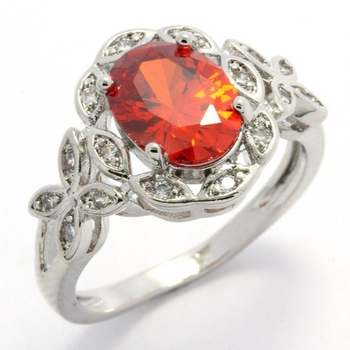 Gold Overlay, 3.25ctw  Orange & White Topaz  Ring Size 7
