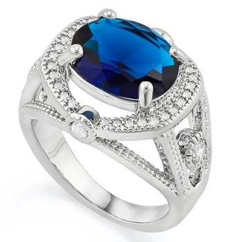 Gold Overlay  Blue & White Sapphire Ring Size 7