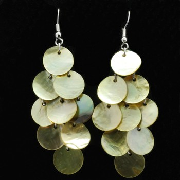 Gold Overlay, Genuine Gold Mother of Pearl Dangle Earrings