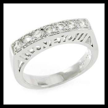 """Gold Plated 3mm Round Cubic Zirconia CZ """"I Love You"""" Filigree Ring Size 7"""