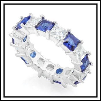 Gold Plated Blue and White Sapphire Ring Size 7