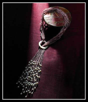 Golden Silk Multistrand Metallic Thread Fresh Water Pearl & Mother of Pearl Necklace