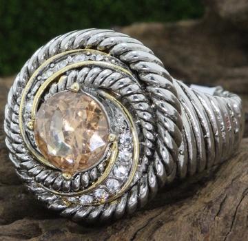 Golden & White Topaz Large Ring size 7