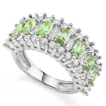 Green Amethyst & White Sapphire Ring Size 6