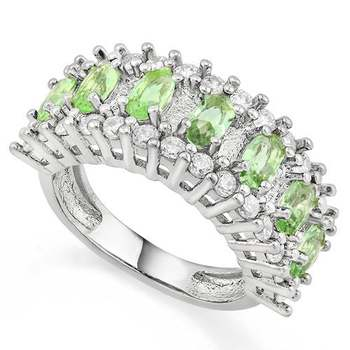 Green Amethyst & White Sapphire Ring Size 8