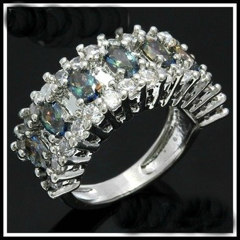 Green Mystic Topaz & White Sapphire Ring Size 7