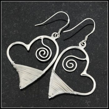 Hand Crafted Sterling Silver Wrapped Open Heart Fish Hook Earrings