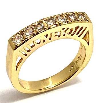 I Love You 0.50ctw White Diamonique Ring Band Size 6.5