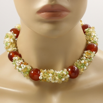 Large Genuine Cornelian Pearls, Citrine, Peridot Necklace Featuring Elegant Sterling Silver Hook & Eye Clasp