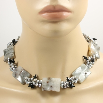 Large Genuine Gray Pearl & Genuine Square Multicolor Quartz Necklace