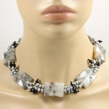 Large Genuine Gray Pearl & Genuine Square Multicolor Quartz Necklace