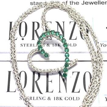 Lorenzo .925 Heart Sterling Silver, 0.20ct Emerald & 0.15ct White Topaz Necklace
