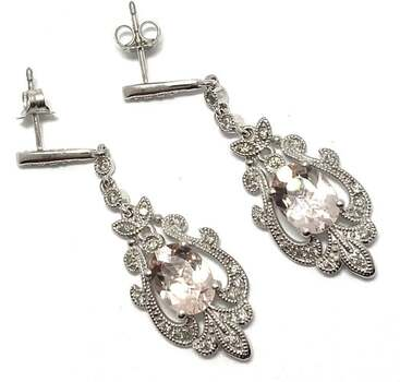 Lorenzo .925 Sterling Silver 0.0238ct of 42 Genuine Diamonds & 2.1ct Morganite Drop Earrings