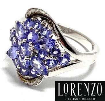 Lorenzo .925 Sterling Silver, 0.04ct  Natural Diamond & 1.68ct Tanzanite Ring Size 7