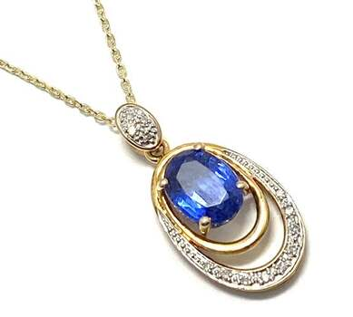 Lorenzo .925 Sterling Silver, 0.052ct of 13 Genuine Diamonds & 2.4ct Kyanite Drop Necklace